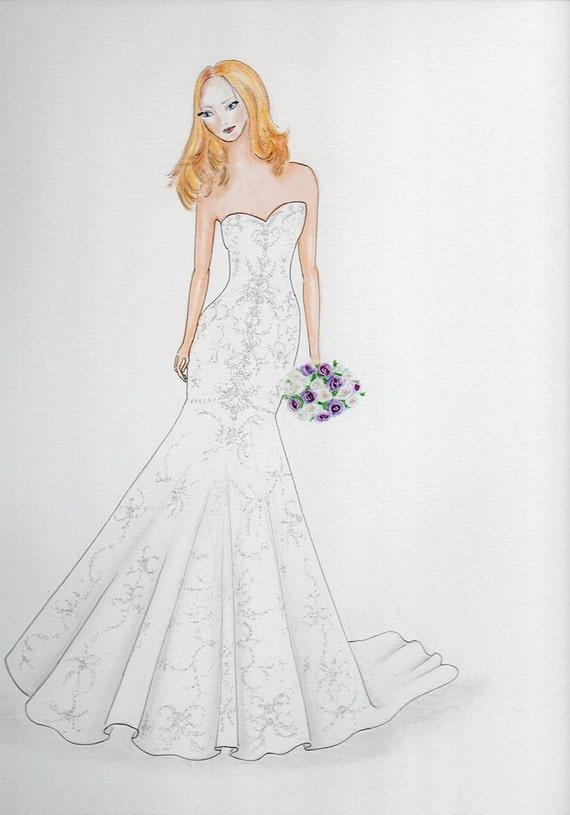 Custom bride portrait, original bride in wedding dress drawing, bridal  portrait, custom wedding sketch, wedding gift, paper anniversary gift