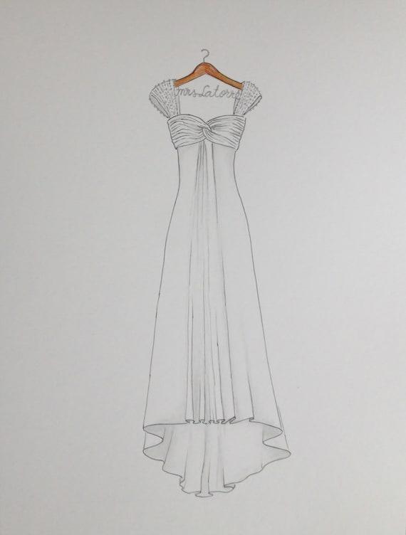 Custom Wedding Dress Drawing On Hanger With Name Original Etsy