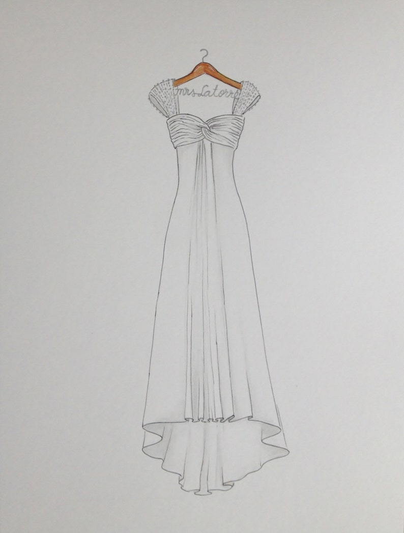 03cbc659fb Custom wedding dress drawing on hanger with name original