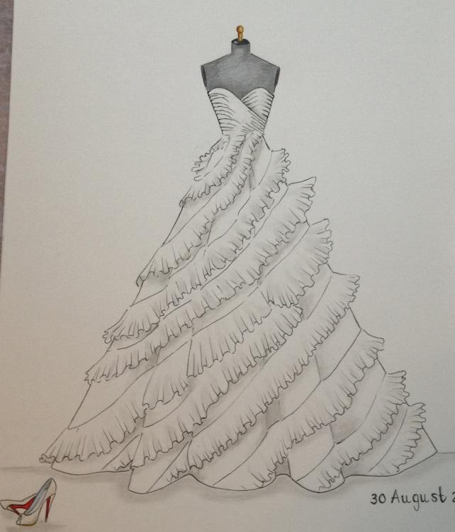 Custom wedding dress sketch wedding dress hand drawing say | Etsy