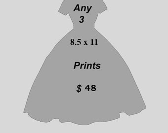 Any three 8.5 x11 Prints for Forty five dollars - Mix and Match - Choose your prints- Fashion illustration