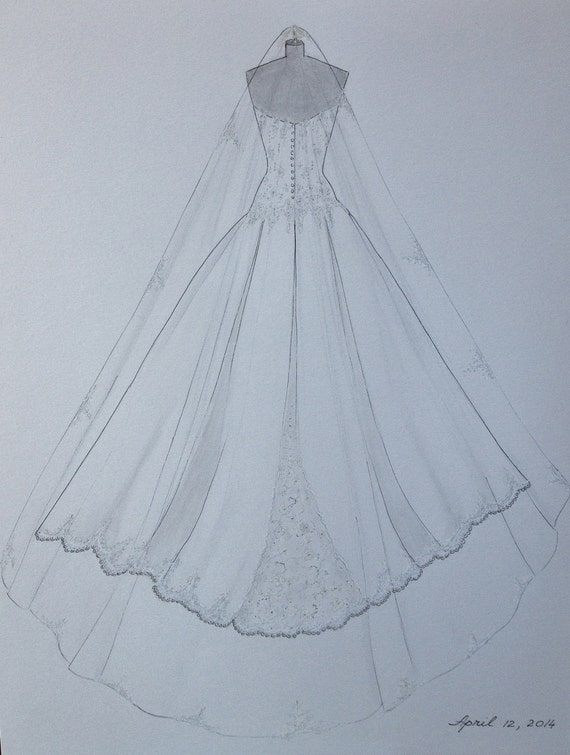 2d037fcb92 Custom Wedding Dress Sketch Back Wedding Dress Hand Drawing