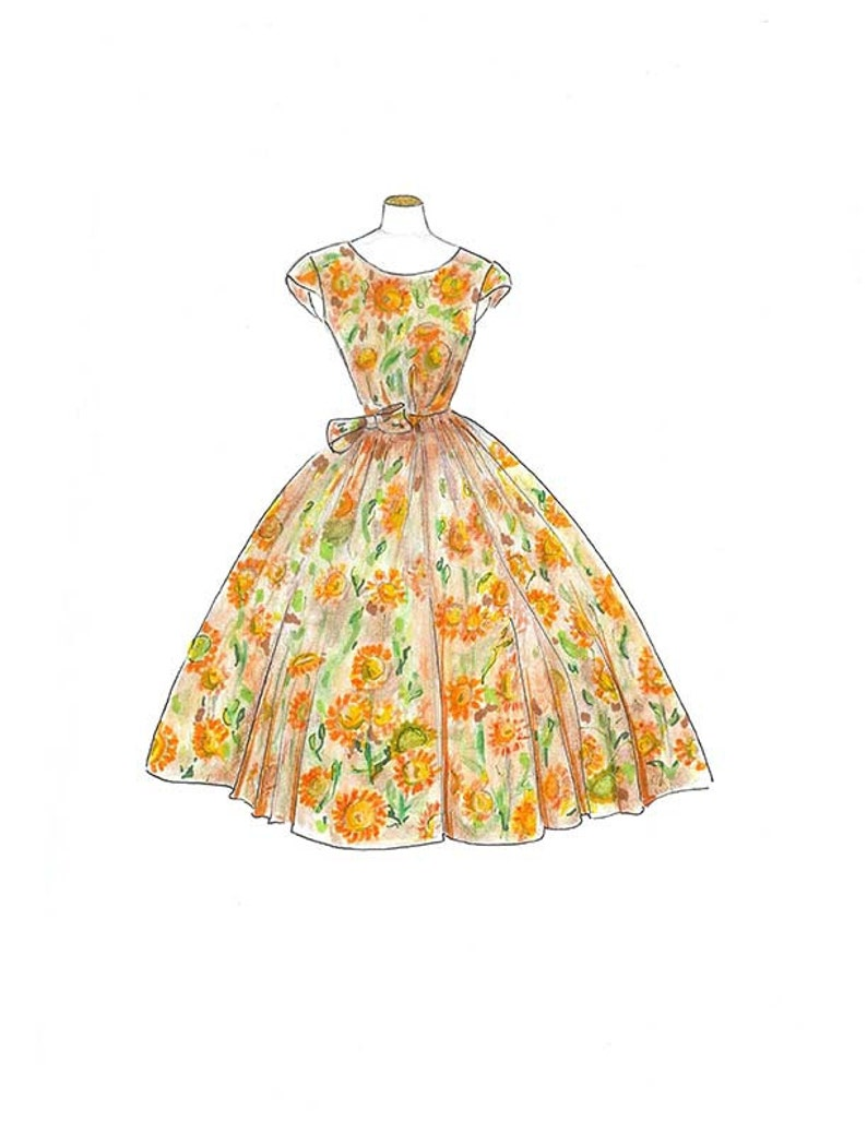 840ae94931d Vintage 1950 Watercolor Dress Fashion Illustration Sunflower