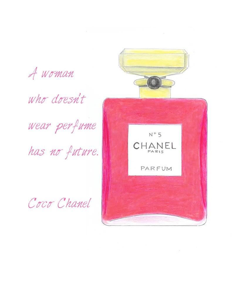 Parfum Chanel Zitat Chanel Parfum Rosa Flasche Fashion Illustration Print Rosa Aquarell Mädchen Raum Dekor Fashion Wandkunst