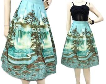 Skirt 1960s 1970s black white maxi skirt long straight skirt border print embroidered skirt Malbe Original size 15-16