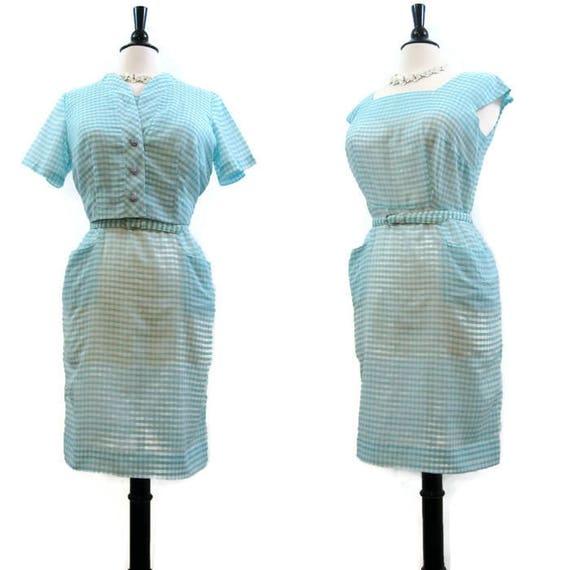 Vintage 50s Dress Jacket Gingham Cotton Wiggle She