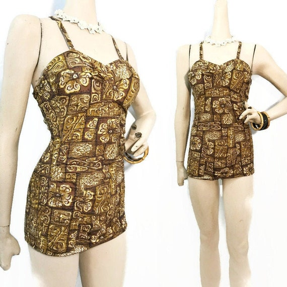 Vintage 50s Swimsuit Hawaiian Pin-up Ruched Cotton