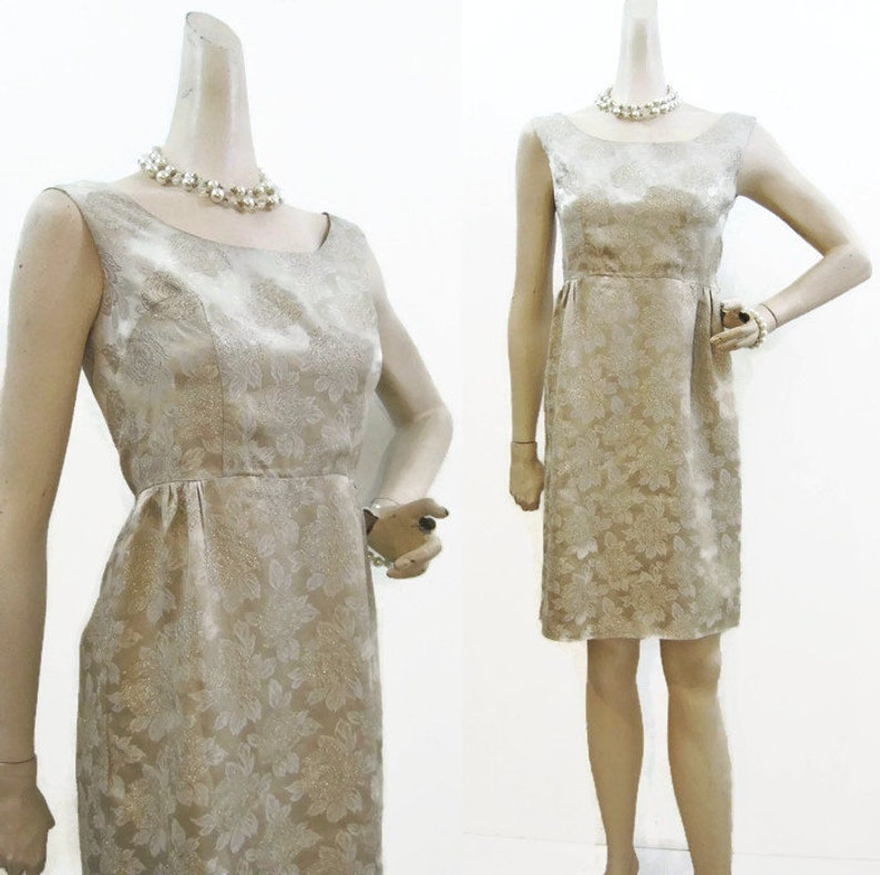 f369c1b198 Vintage 60s Dress Gold Brocade Floral Empire Waist Cocktail S
