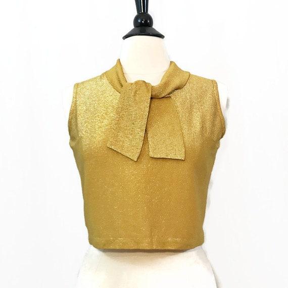 Vintage 60s Blouse Gold Lurex Neck Tie Back Button