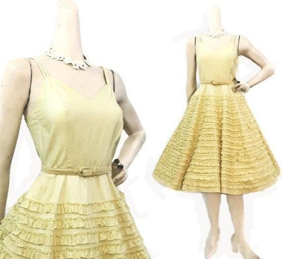 Vintage 50s Dress Yellow Cotton Ruffled Sundress S
