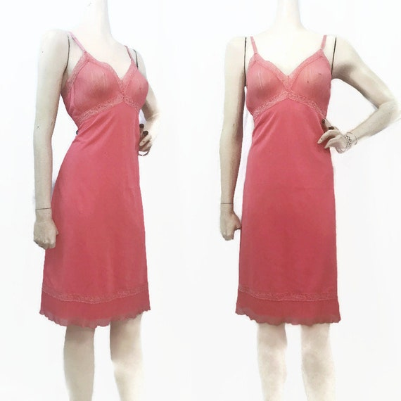 Vintage 50s 60s Full Slip Salmon Pink Nylon and La