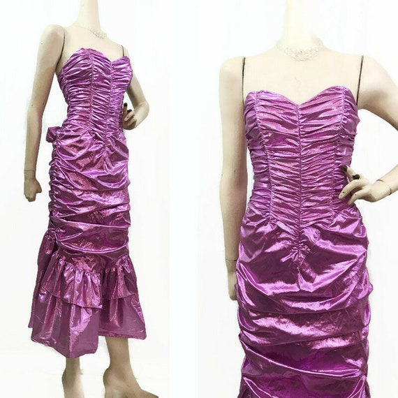 Vintage 80s Dress Purple Lame Strapless Ruched Bac