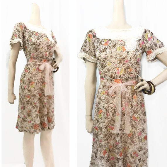 Vintage 30s Dress Floral Cotton Voile Farm House D