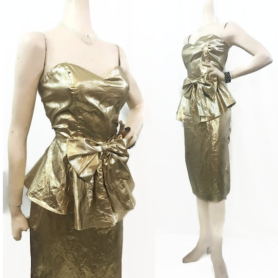 Vintage 80s Dress Gold Lame Strapless Peplum Bustl
