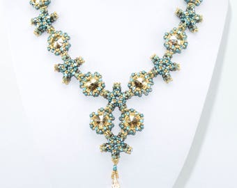 REEF Swarovski Rivoli Kheops and Trinity Beadwork Necklace Pdf tutorial instructions for personal use only