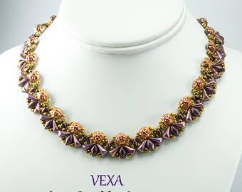 VEXA  Vexolo Gemduo and SuperDuo Beadwork Necklace Pdf tutorial instructions for personal use only