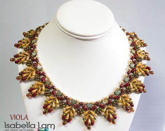 VIOLA Vexolo and lot of two hole beads Beadwork Necklace Beading  Pdf tutorial instructions for personal use only