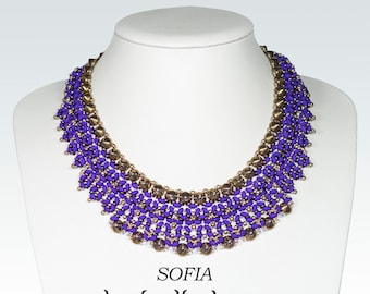 SOFIA SuperDuo Beadwork Necklace Pdf tutorial instructions for personal use only