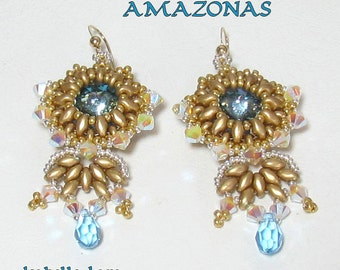 Amazonas SuperDuo with Swarovski Rivoli Earrings tutorial instructions for personal use only