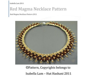 Red Magma Necklace beading tutorial PDF Pattern