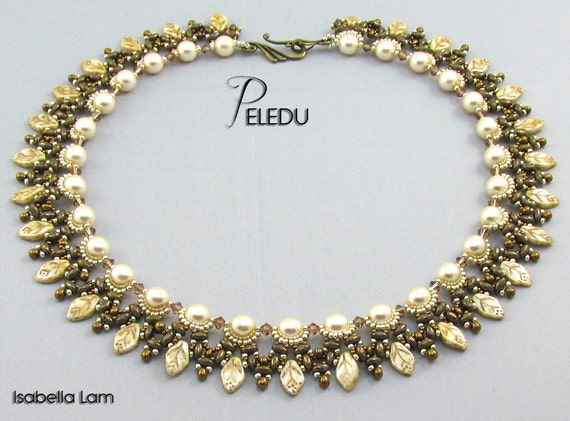 PELEDU Amazing D.I.Y Pearls Czech Leaves and SuperDuo Beadwork Necklace KIT