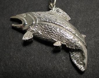 Salmon pendant - Jumping salmon - Sterling silver