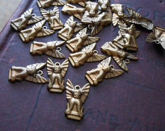5 pc brass gargoyle charm - vintage old new stock jewelry supplies