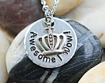 Awesome Wow Hamilton King George Hand stamped Necklace- Actor Gift - Theater Gift - Hamilfan Gift - unisex - Holiday Bestseller