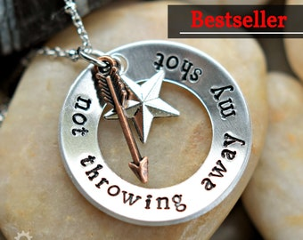 """Hamilton """"Not Throwing Away My Shot"""" Charm Necklace - Hamilton Fan - Hamilfan Gift- Theater Gift - Unisex - 2017-2020 Holiday Bestseller"""