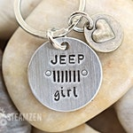 Jeep Girl Personalized Keychain - Mixed Metal - Gift for Her - Jeep Lover Gift - Jeep Owner Gift - Car Charm - 2018 Favorite & Bestseller