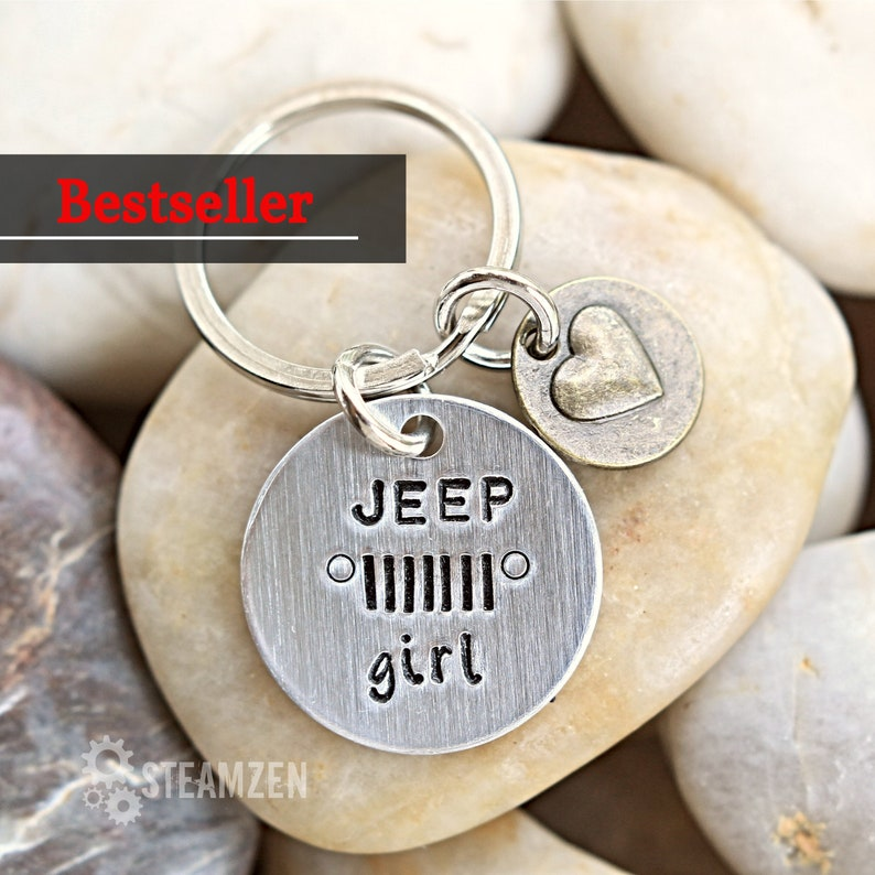 Jeep Girl Personalized Keychain  Mixed Metal  Gift for Her  image 0