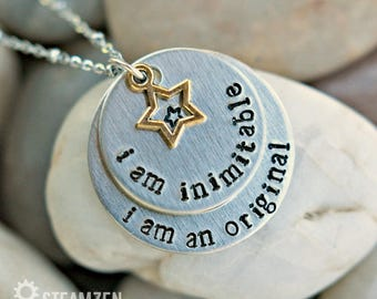 "Hamilton ""I'm Inimitable I'm an Original"" Hand stamped Personalized Necklace - Hamilfan Gift - Actor Gift - Unisex - 2017 Holiday Bestseller"