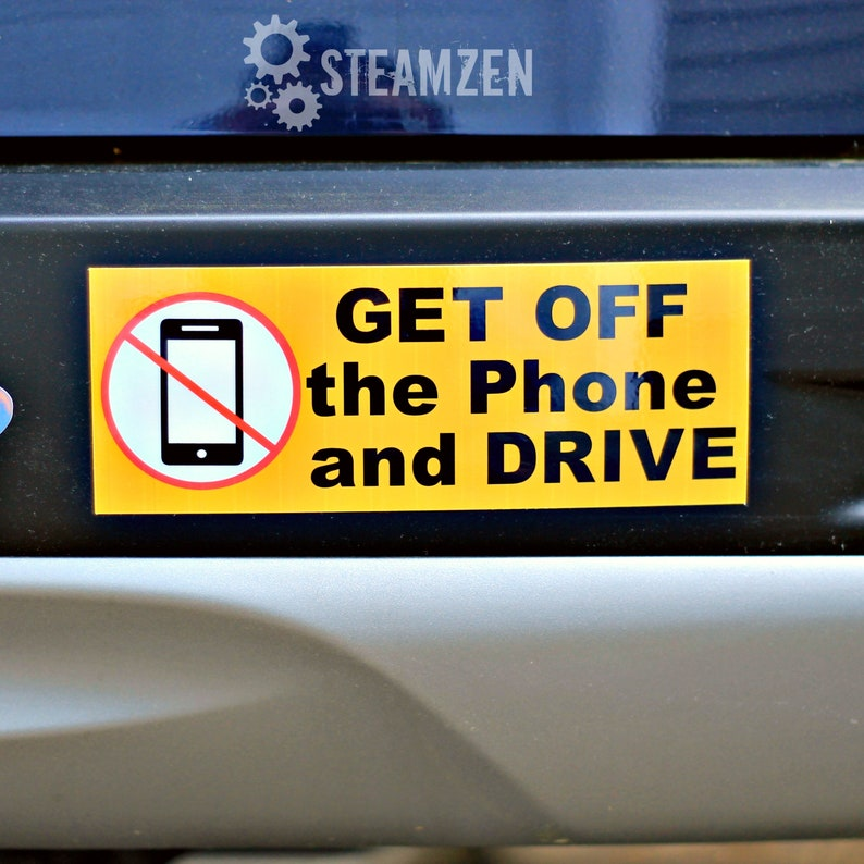 Get Off The Phone and Drive Vinyl Car Bumper Sticker Magnet  image 0