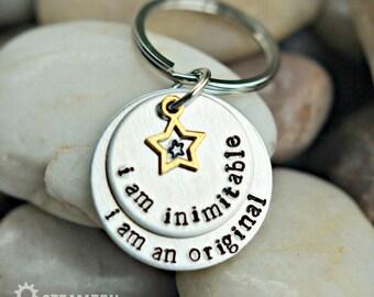 "Hamilton ""I'm Inimitable I'm an Original"" Hand stamped Key Chain - Hamilton Fan - Hamilfan Gift - Theater Gift - Actor Gift - Unisex"