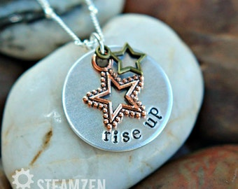 """Hamilton """"Rise Up"""" Star-Studded Charm Necklace - Hamilton Fan - Hamilfan Gift - Theater Gift - Actor Gift - Unisex"""