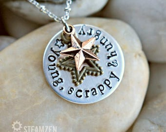 Hamilton Young, Scrappy and Hungry Necklace - Hamilton Fan - Hamilfan Gift- Theater Gift - Actor Gift- Unisex -  Holiday Bestseller