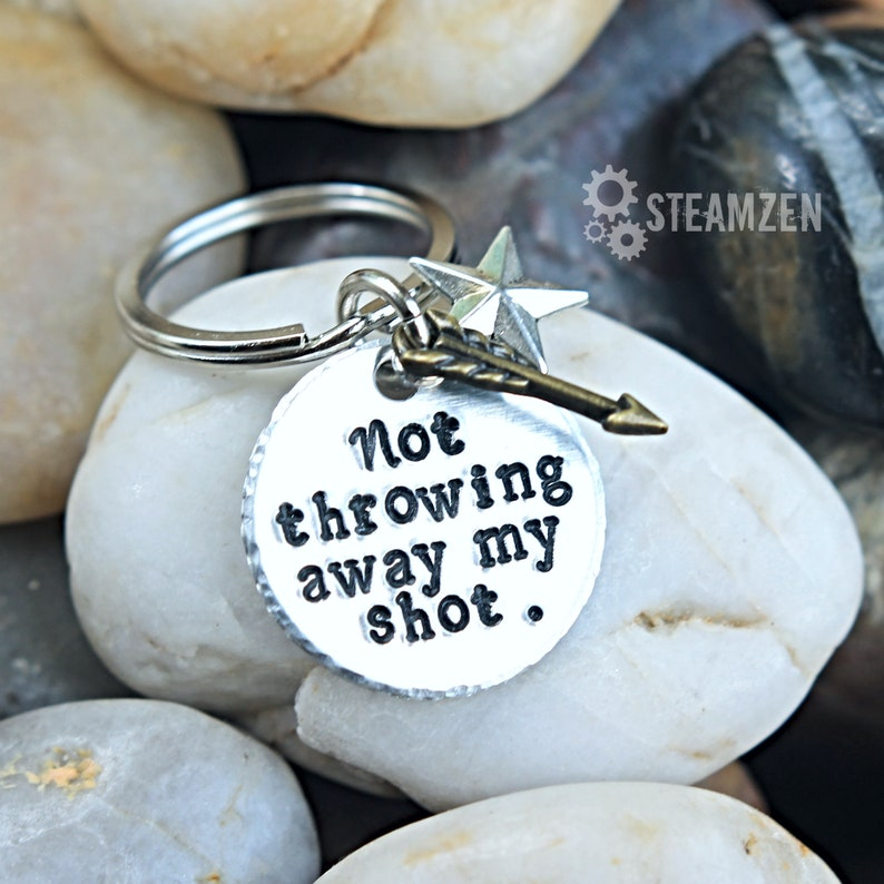Not Throwing Away My Shot Hand stamped Key Chain  Hamilfan image 0