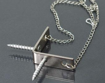 Chevron Hardware Necklace- Industrial Jewelry, Geometric Necklace, Screw Necklace, Statement Necklace, L Bracket Necklace, Hardware Jewelry