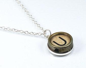 U Typewriter Key Necklace- Letter U Upcycled Steampunk Jewelry, Silver U Initial Necklace, Pendant Necklace, Monogram Necklace, Writer Gift