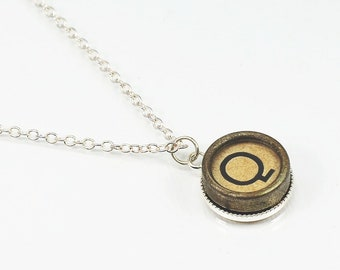 Q Typewriter Key Necklace- Letter Q Upcycled Steampunk Jewelry, Silver Q Initial Necklace, Pendant Necklace, Monogram Necklace, Writer Gift