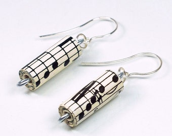 Music Jewelry- Recycled Sheet Music Earrings, Paper Bead Earrings, Paper Bead Jewelry, Music Lover Gift, Paper Jewelry, Paper Anniversary