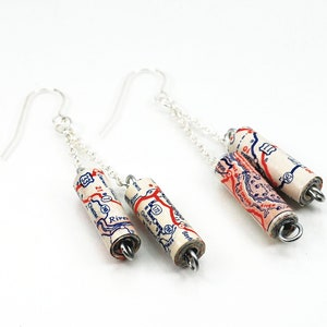 Map Paper Bead Chain Earrings- United States Map Paper Bead Jewelry USA Jewelry U.S Upcycled Paper Jewelry Traveler Present Travel Gift