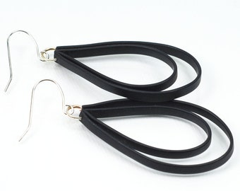 Black Rubber Loop Earrings- Black Teardrop Earrings, Recycled Earbud Cords, Upcycled Jewelry, Modern Jewelry, Eco Friendly Gift Idea