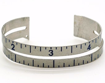 Ruler Bracelet- Sewing Gauge Bracelet, Metal Cuff Bracelet, Sewing Gift, Upcycled Ruler Jewelry, Silver & Blue, Found Object Jewelry