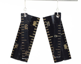 Typewriter Ruler Earrings- Black Ruler Jewelry, Upcycled Jewelry, Contemporary Jewelry, Steampunk Jewelry, Recycled, Found Object Jewelry