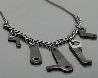 Industrial Jewelry- Cyberpunk, Upcycled, Edgy, Gunmetal Necklace, Avant Garde,  Contemporary Jewelry, Dark Fashion, Found Object Jewelry