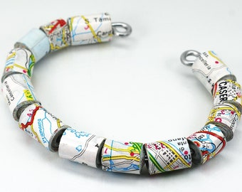 Italy Map Jewelry- Upcycled Italian Map Paper Bead Jewelry, Cuff Bracelet, Map Jewelry, Paper Jewelry, Italy Gift, Travel Gift