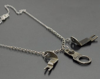 Industrial Choker Necklace- Upcycled Typewriter, Steampunk, Cyberpunk Industrial Jewelry, Edgy, Urban, Modern, Silver, Contemporary Jewelry