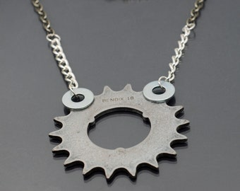 Bicycle Gear Necklace- Contemporary Jewelry, Cyclist Gift, Industrial Necklace, Statement Necklace, Sprocket Necklace, Hardware Jewelry