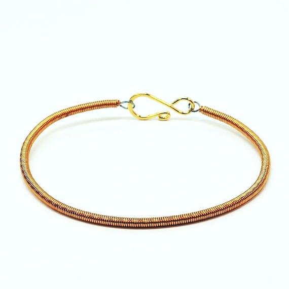 copper bass guitar string bracelet guitar string jewelry etsy. Black Bedroom Furniture Sets. Home Design Ideas